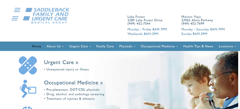 saddleback-urgent-care-website